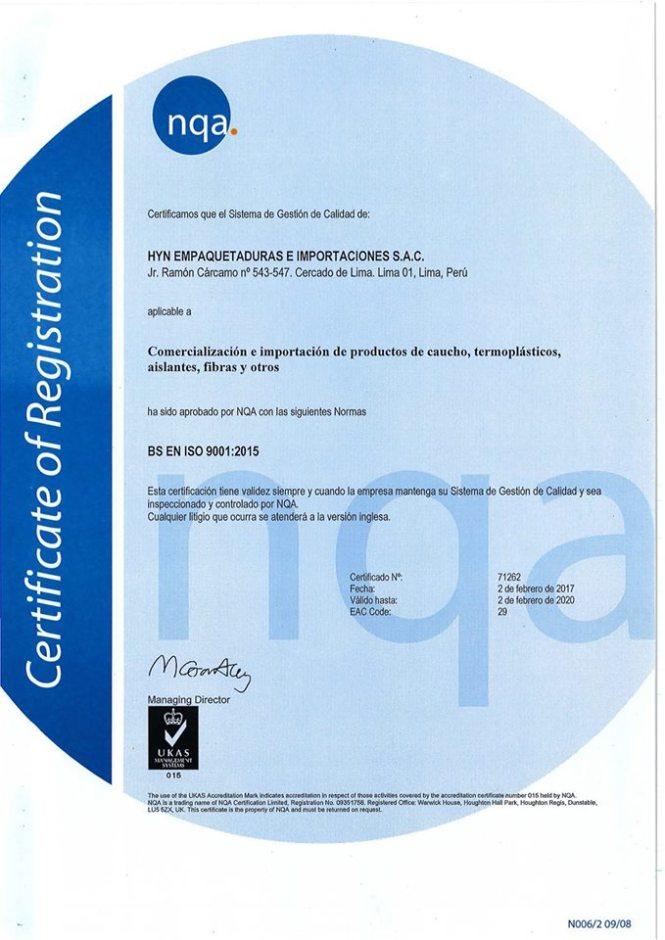 ISO 9001:2015 HyN Empaquetaduras e Importaciones SAC